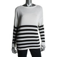 DKNY Womens Striped Dolman Sleeves Pullover Sweater