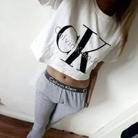"[ On Sale ] "" CK Calvin Klein "" Printed  Letter and Logo like Print Short Bare Midriff Sleeve Women Casual Sweatshirt Shirt Top Blouse T-Shirt and Sweatpants Set (2 pc) _ 1861"