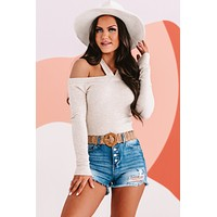 Confess My Love Cold Shoulder Top (Oatmeal)