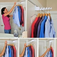 Hanger White Holder Rack Hook Clothing Storage Clothes Over The Door New Free