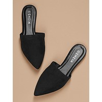 Pointed Toe Flat Slide Mules