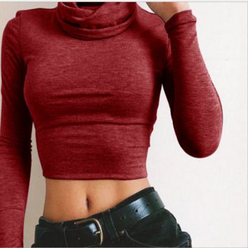 High collar sexy waist midriff t-shirts render unlined upper garment Wine red
