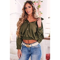 Feeling The Connection Satin Top (Olive)