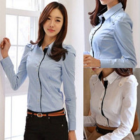 Autumn 2014 New Women's Shirt Casual Fashion Tops Women Beautiful Elegant Long-sleeved Blouses
