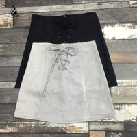 Zina Lace Up Suede Mini Skirt