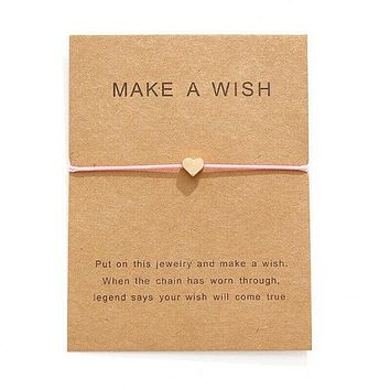 """Make A Wish"" Gold Heart Note Card Pink String Bracelet"