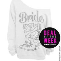 Cowgirl Boots Bride - White with Silver Slouchy Oversized Sweatshirt