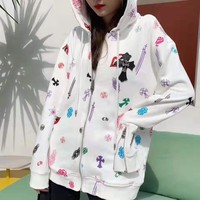 """Chrome Hearts"" Women Fashion Rainbow Color Letter Logo Embroidery Brief Paragraph Hooded Long Sleeve Zip Cardigan Coat"