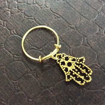 Hamsa Hand Charm Ring 0n an Expandable Adjustable Gold Wire Ring Trending Handmade One Size Fits All (available in Silver)