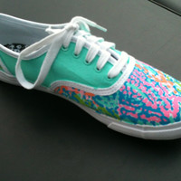 "Lilly Pulitzer "" Lets Cha Cha"" inspired hand painted shoes"