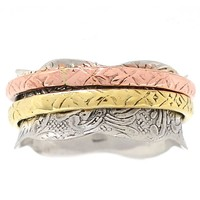 Spinner Ring Three Tone Patterned Wavey Edge