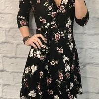 There's No Comparison Floral Dress: Black