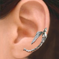 925. Large dragonfly - Sterling Silver ear cuff earring - cartilage wrap earcuff jewelry for men and women 111812
