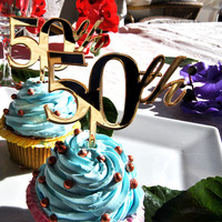 4 pcs a set  CupCake topper 50th, cake decor for 50th birthday, acrylic cupcake toppers party decor, cake topper supplies