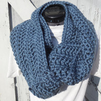 READY TO SHIP, Crochet Loop Scarf, Denim Blue Infinity Scarf, Large Chunky Scarf, Fall Winter, Women's Accessory, Cowl