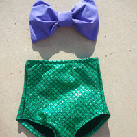The Little Mermaid  Bow bandeau top with high waisted bikini bottoms