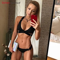 Solid Bandage Swimsuit Women Buckle Swimwear Brazilian Separate Bikinis Set Solid Color Micro Bikini Biquini 2019 Black White