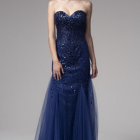 KC131582 Navy Beaded Mermaid Prom Dress by Kari Chang Couture