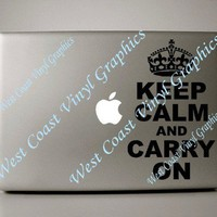 Macbook decal Keep Calm and Carry On | WestCoastVinylGraphicsandWoodwork - Techcraft on ArtFire