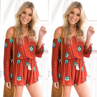 Red Orange Floral Print Off the Shoulder Elastic Waist Romper