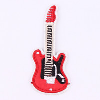 1Pcs Guitar Patches For Clothing Iron On Embroidered Sew Applique Cute Patch Fabric Badge Garment DIY Apparel Accessories