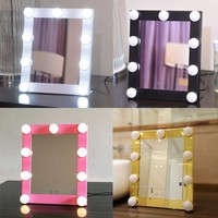 LED Bulb Vanity Lighted Hollywood Makeup Mirror with Dimmer Stage Beauty Mirror vanity mirror with lights