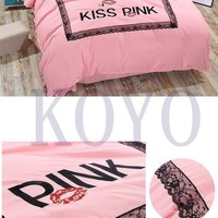 Brand Pink Print Embroided Fashion Cotton Bedding Set