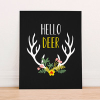 Hello Deer Digital Art Print Instant Download, Deer Silhouette, Nursery Art Print, Nursery Wall Art, Tribal Art, Mountain Decor