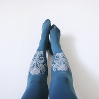 Original Tights l Tattoo Print Turquise tights l Paisley Print l Surian flower l Turqise stocking l free shipping