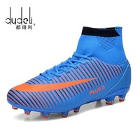 DUDELI Men Soccer Shoes Indoor Futsal Shoes With Socks Professional Trainer TF Football Boot high ankle Zapatillas Futbol Sala