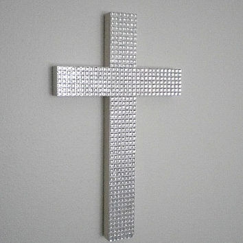 "BLING WALL CROSS - Sparkling with Small Clear Square Gems- 9.5"" x 5.5"""