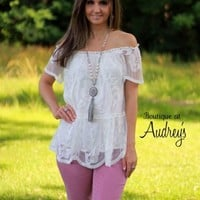 Entro Lace Off-Shoulder Top in Off White - Boutique At Audrey's