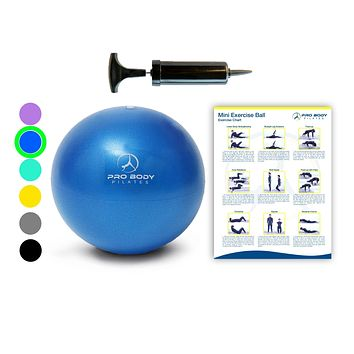 Mini Exercise Ball with Pump - 9 Inch Small Bender Ball for Stability, Barre, Pilates, Yoga, Core Training and Physical Therapy Blue