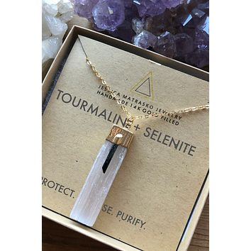 Black Tourmaline + Selenite Healing Crystal Necklace