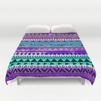 Purple and Teal Tribal Pattern Duvet Cover by Kirsten Star