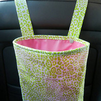 Car Trash Bag with Water Resistant PUL Lining for Head Rest Lime Green Cheetah Print & Pink Lining Washable Car Trash/Waste/Refuse Bag