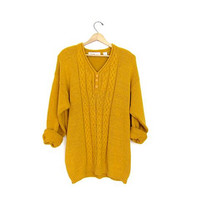 Oversized golden rod Yellow henley sweater Button down vintage Cable knit Vneck jumper Womens slouchy pullover XL XXL