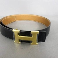 Auth HERMES H Belt Black Gold Leather Square C Belt
