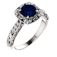 Antique Filigree Halo Diamond & Blue Sapphire Engagement Ring 14K White or yellow Gold Vintage Style round cushion oval princess asscher