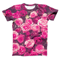 The Vibrant Pink Vintage Rose Field ink-Fuzed Unisex All Over Full-Printed Fitted Tee Shirt
