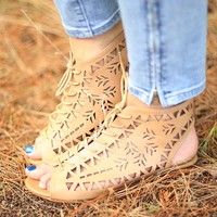 Cut It Out Lace Up Sandal