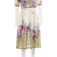 70's Vintage Sheer Floral Dress Midi Fit and Flare Retro Clothing Women's Size Small / Beige Taupe Summer Midi Crossover Bust 1970s Sundress