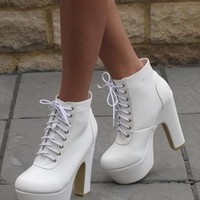 White lace up leather look ankle boot (Tabitha) from Chockers Shoes