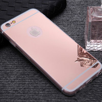 1PC Luxury Mirror Electroplating Soft Clear TPU Cases For iphone 6 6S 4.7inch 6 6S Plus 5.5 inch 5 5S SE Back Cover Capa