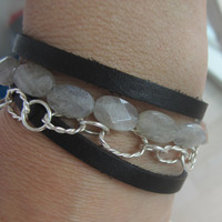 Leather and Bead Wrap Bracelet, Stackable bracelet, gray and silver bracelet, labrodite bracelet, yoga bracelet, yoga gift, modern bracelet