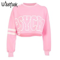 KPOP BTS Bangtan Boys Army Waatfaak Women Crop Sweatshirts Long Sleeve Pink  Hoodie O Neck Striped Letter Printed Cotton Autumn 2018 Casual Hoodies AT_89_10