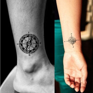 Sexy temporary tattoo stickers waterproof hand fingers circle compass art spray fale makeup environmental designs (Size: L, Color: Black & Green) = 5660935745
