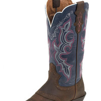 Justin Stampede Punchy Brown/Blue Women's Cowboy Boots