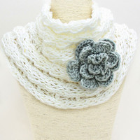 Flower Knit Infinity White Scarf