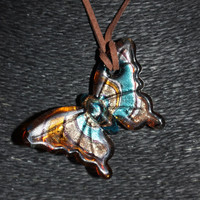 Murano Glass (Blue and Gold) Butterfly Pendant Necklace